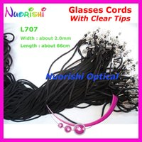 Wholesale Wholesale Sunglass Neck Cord - Wholesale-100pcs L707 Black width 2.0mm eyeglass sunglass polyester neck string cord retainer strap eyewear lanyard holder with Clear Tips