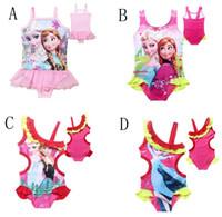 Wholesale Gauze Swimsuits - 4 Style 4-12Y Children's lace Gauze Swimwear frozen Elsa Anna girls Beach Swimwear Summer Princess One-Piece Swimsuit C001