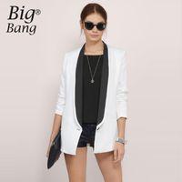 Wholesale Color Block Suit Jacket - Color Block OL Blazers Notched Collar One Button Suit Jackets 2017 Spring Formal Casual Blazer Jacket Women Coats M16122603
