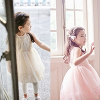 Wholesale Childrens White Chiffon Dress - Princess Dress Childrens Girls Sleeveless Dressesc Kids Clothes Lace Gauze Dresses Pink Party Dress