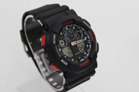 Wholesale watch g shock black - dual display sports watch ga100 G Black Display LED Fashion army military shocking watches men Casual Watches