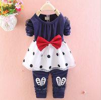 Wholesale Tutu Leggings Dots - New Spring autumn children clothes Long sleeve clothes suit bowknot dress+leggings 2 pieces 100% cotton 4s l