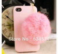 Wholesale Cute Mobile Phone Plug - Wholesale-Cute rabbit fur ball mobile phone dust plug pearl rhinestone rabbit fur pompon general clinched fresh