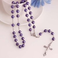 Wholesale Catholic Rosaries Wholesale - Wholesale-Glass Pearl Catholic Holy Rosary Beads Christian Gifts The Cross Necklace