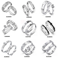 Wholesale Silver Couple Rings Sale - Top Grade Silver Couple rings Hot Sale Crystal Charms Lovers Band Ring Party Gift Jewelry Wholesale Free Ship 0193WH