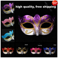 Wholesale Gold Red Masquerade Masks - On Sale Party masks Venetian masquerade Mask Halloween Mask Sexy Carnival Dance Mask cosplay fancy wedding gift mix color free shipping