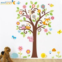 Wholesale Wall Decals For Children Room - cute wise owls tree wall stickers for kids room decorations nursery cartoon children decals pvc animal wall decal diy zooyoo1015