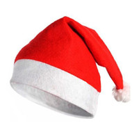Wholesale Cheap Hat Decorations - Hot sale adult Santa Claus red Cap Soft cheap Red Christmas decoration Hat Christmas happy party Gifts stocking Christmas 60pcs lot