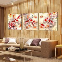 ornamental plums - 3 Pieces no frame home decoration on Canvas Print Ornamental fish Plum girl love Abstract Purple flower Pot chinese characters