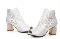 sapatos de casamento requintado venda por atacado-Requintado Mulheres Gauze Peep Toe Forma Sapatos de Casamento Chunky De Salto De Couro De Cristal Sandália Verão Bota Com Tamanho Bonito Do Laço EUA 4-11