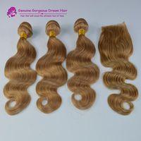 sarışın brazilian dalga saç paketleri toptan satış-Kapatma ile 3 demetleri brezilyalı İnsan saç bal sarışın # 27 saç uzantıları vücut dalga örgü demetleri ile kapatma sarışın için sa; e
