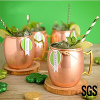 Wholesale Folk Art Tiles - Stainless Steel Moscow Mule Mug Rose Gold Hammered Copper Plated Cup Durable Easy To Clean Wine Glasses For Bar 20yf B