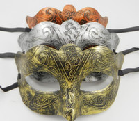 Wholesale Mens Masquerade Party Mask - Men's retro Greco-Roman Gladiator masquerade masks Vintage Golden Silver Copper Mask silver Carnival Mask Mens Party Mask 10pcs lot