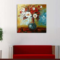 Dipinto a mano fiori rossi e bianchi spatola pittura a olio su tela Leonid Afremov Wall Art for Living Room Decoration