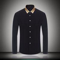 siyah renk yaka gömlek toptan satış-Altın Renk Yaka Siyah Beyaz Erkek Elbise Gömlek İş Uzun Kollu Slim Fit 2018 Moda Sonbahar Güz erkek giysi tasarımcısı