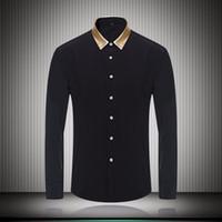 camisa de colarinho de cor preta venda por atacado-Colarinho da cor do ouro preto branco camisas de vestido dos homens para o negócio de manga comprida slim fit 2018 outono moda mens roupas de grife