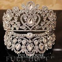 coroas de casamento de strass venda por atacado-Luxuoso Junoesque Sparkle Pageant Coroas Strass Casamento Nupcial Coroas Jóias Nupcial Tiaras Tiaras de Cabelo brilhante nupcial tiaras