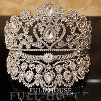 pageant hair accessories - Luxurious Junoesque Sparkle Pageant Crowns Rhinestones Wedding Bridal Crowns Bridal Jewelry Tiaras Hair Accessories shiny bridal tiaras
