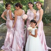 vestido de boda de tafetán rosa sirena al por mayor-Vestidos de dama de honor larga rosa con encaje de un hombro Tafetán de sirena mujeres formales Eventos de boda Vestidos de fiesta Vestido de dama de honor por encargo