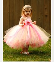 Wholesale wedding dress halter ruffled neckline resale online - 2015 Cute Lovely Girls Pageant Flower Girl Dresses Handmade Flowers Ruffles A Line Halter Neckline Tea Length Bridal Gown