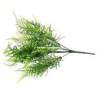 Wholesale Floral Stems - Plastic Green 7 Stems Artificial Asparagus Fern Grass Bushes Flower Bonsai Home Garden Floral Accessories