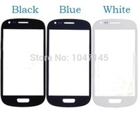 Wholesale S3 Glass Grey - Wholesale-Screen Glass 5pcs lot Grey White Black Blue Front Glass Lens For Samsung Galaxy S3 Mini i8190 with Logo High Quality Brand New