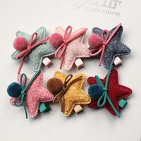 Wholesale Cheap Girl Hair Bows - 24pcs  Lot Soft Felt Big Size Stars Kids Hair Clip With Bow Wool Roll Girls Hairpins Bowknot Solid Color Hair Grip Cheap Barrette