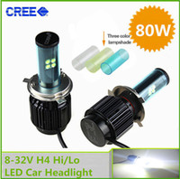 Wholesale Day Driving Led Bulb Car - H4 LED Headlight Cree80W*2 ,4500LM*2 Dual Beam Hi Low LED Car Headlight Kit Day Driving Fog Head Light Bulb