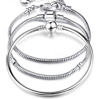 styles de homard achat en gros de-New Hot Sells 8 Style 925 Argent LOVE Serpent Chaîne Bracelet Bracelet 17CM-21CM Pulseras Homard pour Perles