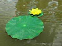 ingrosso serbatoio di loto-10cm Garden Home Decor Fiore artificiale Foglia di loto Materiale EVA Serbatoio di pesci Decorazioni per piscine in acqua Ornamenti artigianali di piante verdi Spedizione gratuita