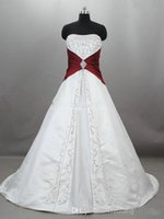 Wholesale Empire Wedding Dress Embroidered - Real Picture2017 Strapless Satin Embroidered A-Line Wedding Dresses Embroidery Burgundy And White Bead Train Plus Size Bridal Wedding Gowns
