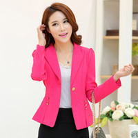 Wholesale Korean Dress Skirt Shirts - Wholesale- Korean Slim small suit jacket female spring and autumn long-sleeved jacket occupation professional dress shirt shorts