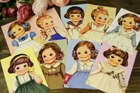 Wholesale New cute Cartoon doll Vintage style poster Drawing postcard set greeting postcards gift cards Christmas Card set
