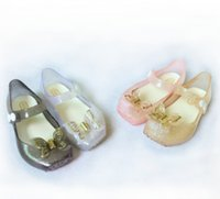 Wholesale Wholesale Crystal Baby Shoes - Melissa jelly shoes 2018 summer new girls butterfly princess Sandals children beach shoes Baby kids crystal fragrance sandals R0903