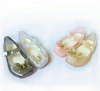 Wholesale Leather Ballet Shoes Wholesale - Melissa jelly shoes girls butterfly princess Sandals children soft bottom ballet dance shoes Baby kids crystal fragrance sandals R0903