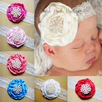 Wholesale Stereoscopic Colorful Flower Hair Band - New fashion 2015 Baby Amour Baby Lace pearl Headbands Stereoscopic Colorful Flower Hair Band Girl Hair Accessories