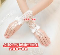 Wholesale wedding dress accessories wrist resale online - Beautiful White Sheer Fingerless Lace Wedding Glove Bridal Gown Ball Glove Wedding Dress Accessories New Arrival