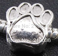 Wholesale Diy Metal Spacers - 100pcs Tibetan Silver Alloy Dog Paw Prints Spacer Bead Charms For Pandora Bracelet Woman DIY Metal Jewelry Findings Accessories 11*10mm A225