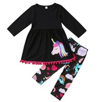 Wholesale Cartoon Girls Tights - baby clothes Cartoon Girls Outfits Unicorn Tassel Children Casual Clothing Sets Cartoon Princess Dress + Rainbow Tights 3pcs Suits C2520