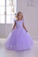 Wholesale bateau wedding dresses for sale resale online - Hot Sale Purple Little Girls Dresses for Pageant Ball Gown Organza Floor Length Flower Girls Dresses for Wedding Birthday Gowns CS021