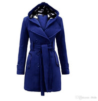 Wholesale Cashmere Hoodies For Women - QQ-002# Plus size New thick Jackets For Women Long Overcoat Outwear Wool Toggle Duffel Coat with Hoodies Women Wool Coat