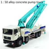 Wholesale Cement Truck Toy - 1:50 Concrete Pump Truck Cement Miniature Truck Cranes Alloy Car Toys Models in Automotive Engineering Trucks