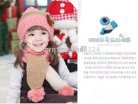 Wholesale Cotton Knit Scarves - Wholesale-2015 Winter Baby Bear Hat Scarf Novelty Sets Children Knitted Cotton Blending Cap Earflap 1set Accessoriesold Free Shipping