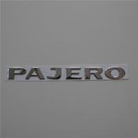 ingrosso auto adesivi pajero-2 pezzi / set ABS 3D Argento Pajero Car Emblem Badge Corpo laterale Logo Decal Sticker posteriore Accessori Decorazione