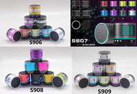 Wholesale Free DHL new Metal Portable Stereo Wireless Bluetooth music speaker Colourful LED S901 S902 S903 S905 S906 S907 S908 S909 Handsfree TF HIFI