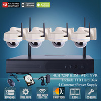 4CH H.264 HDMI WIFI NVR CCTV-Kit 720P Outdoor IR Vandalensichere Dome IP-Kamera Wireless Security Surveillance System 1TB HDD