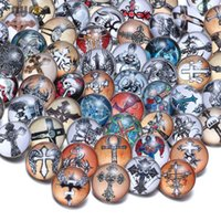 Barato Encanto De Óculos De Atacado-50PCS / lot Hot Wholesale Saint Cross Mixed Pattern Glass Snap Button Mulheres Jóias Charm Bracelet Fit 18mm Ginger Snaps Button Jewelry
