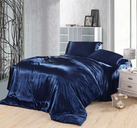 Wholesale Super King Size Bedding - Dark blue bedding set silk satin super king size queen double fitted bed sheets duvet cover quilt bedspreads doona bedsheet 5pcs