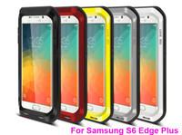 galaksi s5 goril camı toptan satış-Orijinal Aşk Mei Şok Su Geçirmez Metal Alüminyum Kapak Gorilla Temperli Cam Vaka galaxy S5 S6 / S6 Kenar Not 4 3 iPhone 6 ARTı