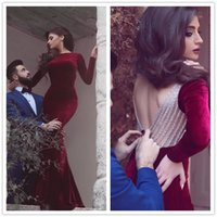 Wholesale Sexy Kleider - 2017 Said Mhamad Burgundy Prom Dresses Long Sleeve Crystal Beaded Mermaid Evening Dress Formal Women Backless Special Occasion Dress Kleider